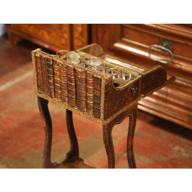 Early 19th Century Early 19th Century French Faux Leather Bound Books Liquor Cabinet With Glasses For Sale - Image 5 of 11