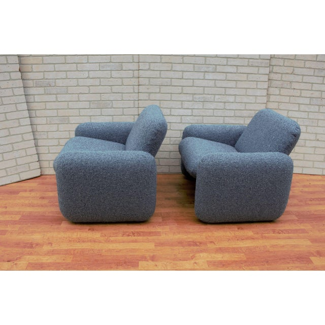 Mid-Century Modern Mid Century Modern Ray Wilkes for Herman Miller Blue Chiclet Lounge Chairs - a Pair For Sale - Image 3 of 9