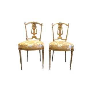 French Giltwood Salon Side Chairs - a Pair For Sale