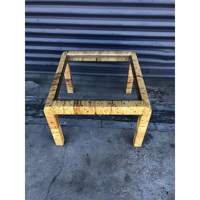 Vintage Wrapped Rattan Square Side Table For Sale In Tampa - Image 6 of 11
