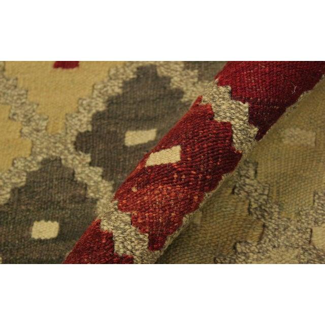 Shabby Chic Shabby Chic Tribal Ezra Gray/Blue Hand-Woven Kilim Wool Rug -9'4 X 12'1 For Sale - Image 3 of 8