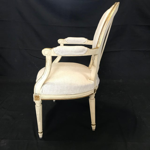 Ivory Antique Painted Louis XVI Gustavian Style Dining Chairs -Set of 6 For Sale - Image 8 of 13