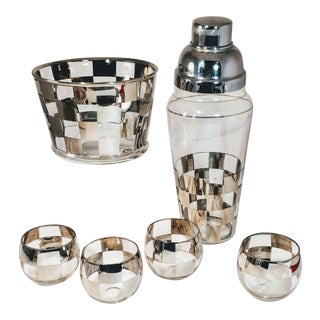 Vintage Mid-Century Silver Checkerboard Cocktail Barware - Set of 7 For Sale