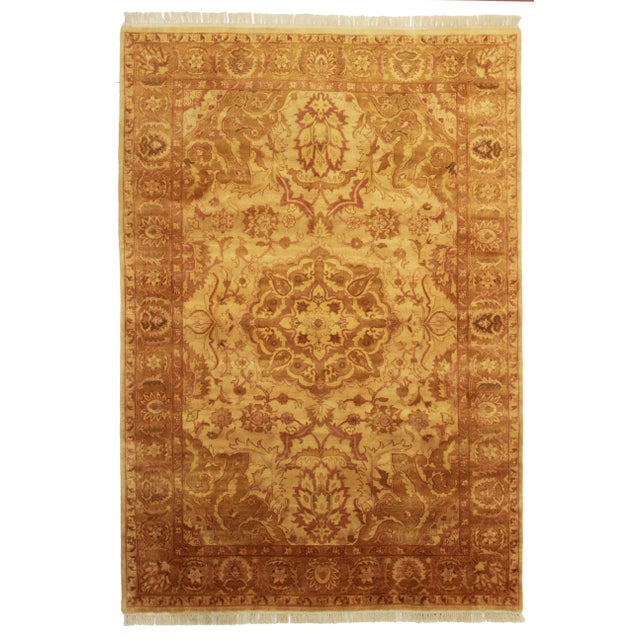"RugsinDallas Hand Knotted Wool Indian Rug - 6' X 8'8"" - Image 1 of 2"