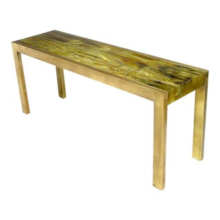 Mastercraft Brass Console with Bernhard Rohne Acid-Etched Top For Sale