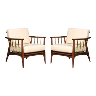 Rare Pair of Lounge Chairs Attributed to Edmond Spence For Sale