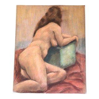 Original Female Nude Pastel Life Study Drawing For Sale