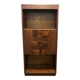 1970s Mid Century Modern Lane Staccato Brutalist Cabinet For Sale