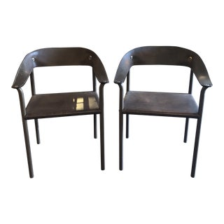 1970s Vintage Leather Chairs- A Pair For Sale