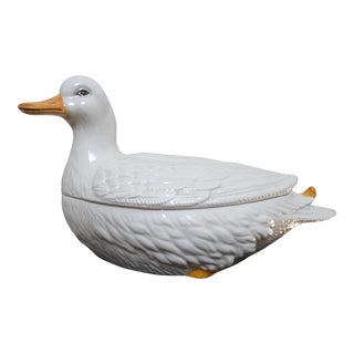 Mottahedah Glazed Porcelain Duck Tureen For Sale