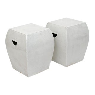 Contemporary White Glazed Terra Cotta Garden Stools / Side Tables - a Pair For Sale