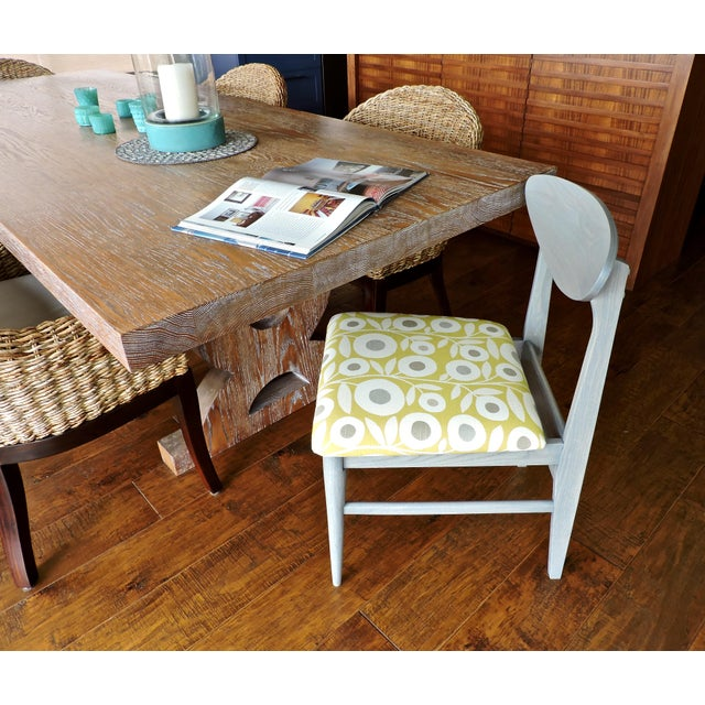 1960s Bassett Mid-Century Modern Retro Pattern Fabric Upholstered Dining Chairs - a Pair For Sale - Image 5 of 8