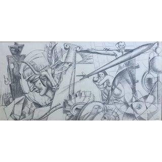Michael Lenson Mural Study 1950 For Sale