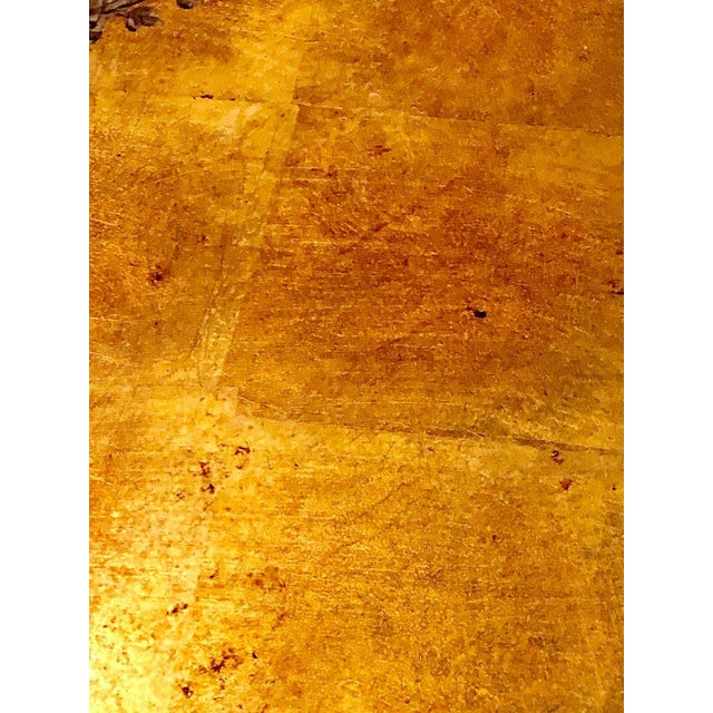 Metal Antique Urn Form Base Verne Eglomise Center Glass Top Table For Sale - Image 7 of 13