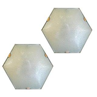 Pair of 1960s Italian Esagonal Wall or Ceiling Lights by Stilnovo