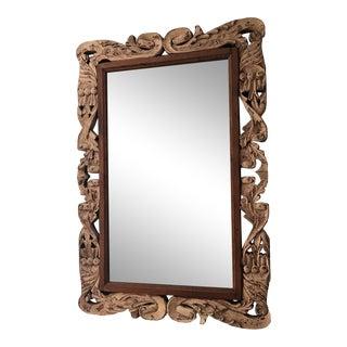 Vintage Hand Carved Beveled Mirror For Sale
