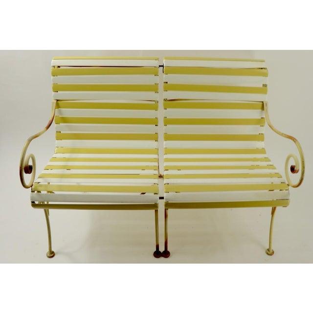 Woodard Furniture Co. Woodard Scroll Arm Plastic Strap Settee For Sale - Image 4 of 12