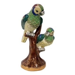 Vintage Hand Painted Porcelain Perched Parrots Figurine