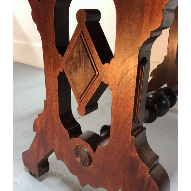 Eastlake Victorian Leather Top Mahogany Hall Table For Sale - Image 11 of 13