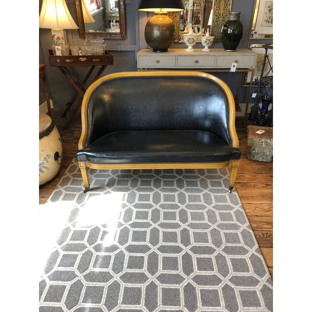 Pair of English Library Fruitwood and Faux Black Leather Loveseats For Sale In Philadelphia - Image 6 of 13