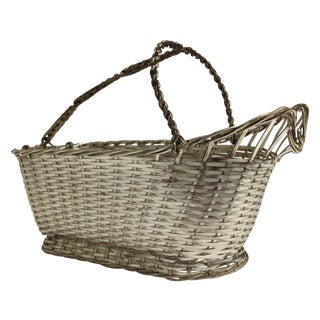 Christofle Silver Woven Wine Basket Caddy For Sale