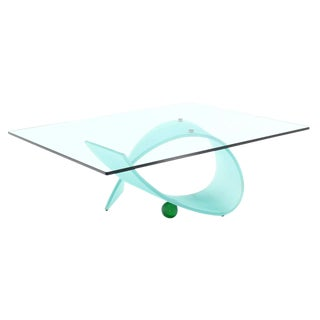 Frosted Glass Ribbon Base Square Glass-Top Coffee Table