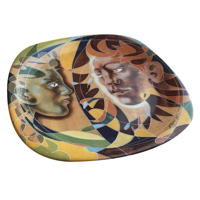 Decorative plate with human figure design by Hans Erni, printed by Matthey Beyrand Limoges France. Reference no....