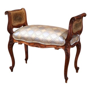 19th Century French Louis XV Carved Walnut Piano Bench with Silk and Cane Sides For Sale