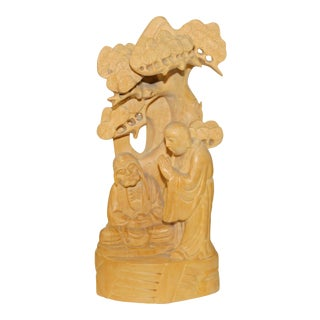 Zen Master Lecture Under Juniper Tree Box Wood Carving Figure N591S For Sale