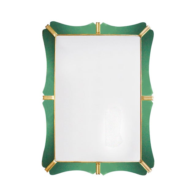 1950´s Large Mirror, Green Mirrors Frame and Golden Leaf Wood - Italy For Sale