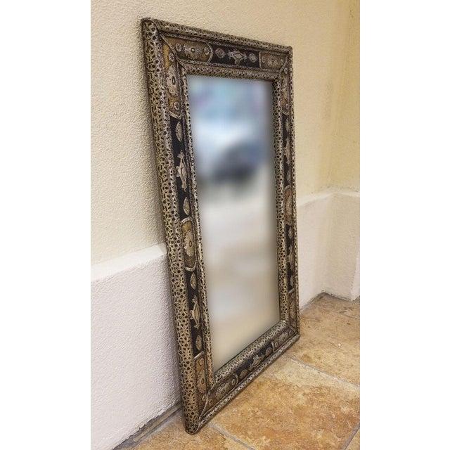 Islamic Moroccan Rectangular Metal Inlaid Mirror For Sale - Image 3 of 8