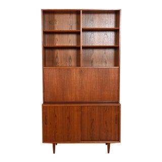 Danish Teak 2 Pc. Drop-Down Secretary / Display Top With Sliding Door Cabinet For Sale