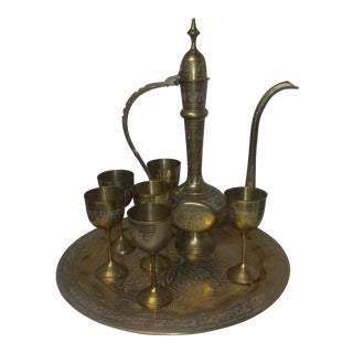 Moroccan Style Brass Pitcher Set - 8 Pieces For Sale