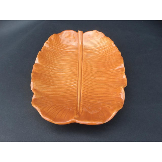 1940s Orange Newell Stevens Leaf Decorative Plate For Sale In Los Angeles - Image 6 of 6
