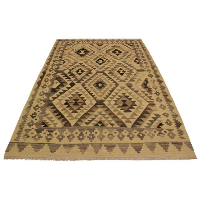 Asian Susanne Ivory/Brown Hand-Woven Kilim Wool Rug -6'0 X 7'10 For Sale - Image 3 of 8