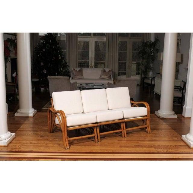 Mid-Century Modern Fantastic Restored Vintage Modern Rattan Three-Seat Sofa For Sale - Image 3 of 8
