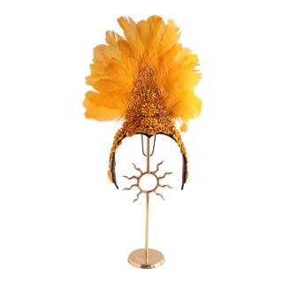 Late 20th Century Feather Headdress on a Brass Stand For Sale