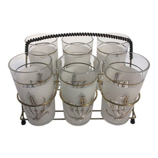 Vintage Coverto Drinking Glasses in Brass Cart - Set of 6