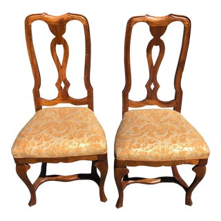 1910s Pair Antique Venetian Walnut Side Chairs - New Fortuny Upholstery For Sale