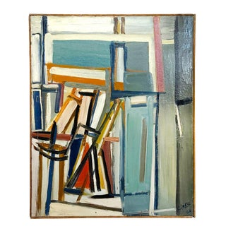 "20th Century ""Jeu D'espaces"" Books on Canvas Painting by Daniel Clesse For Sale"