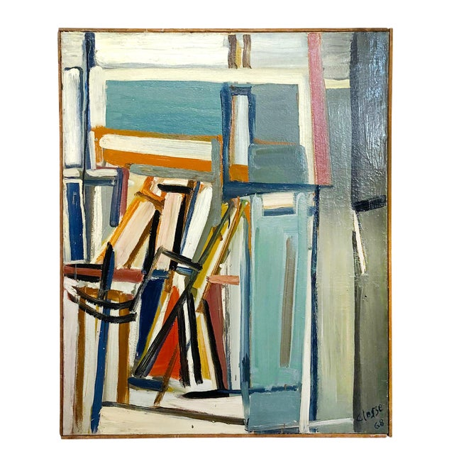 "20th Century ""Jeu D'espaces"" Books on Canvas Painting by Daniel Clesse For Sale"