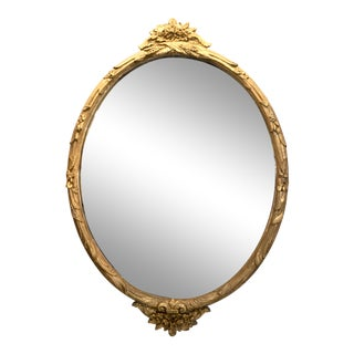 Boho Chic Giltwood Oval Mirror For Sale