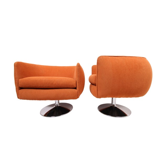 Vintage Swiveling Lounge Chair Pair - Milo Baughman, Adrian Pearsall Style - Original Vintage Design With Newer Fabric - Earthy Orange For Sale In Saint Louis - Image 6 of 11