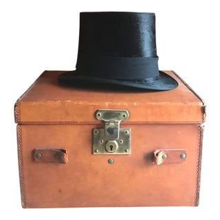 Antique Silk Top Hat with Leather Case, Men's Victorian Fashion For Sale
