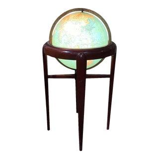 Vintage 1957 Illuminated Glass Globe by Replogle For Sale