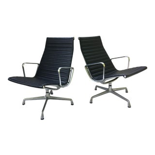 Eames Aluminum Group Leather Lounge Chairs - a Pair For Sale