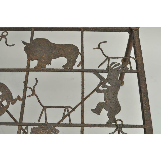 Metal Metal and Glass Square Brutalist Coffee Table With Native American Glyph Figures For Sale - Image 7 of 11