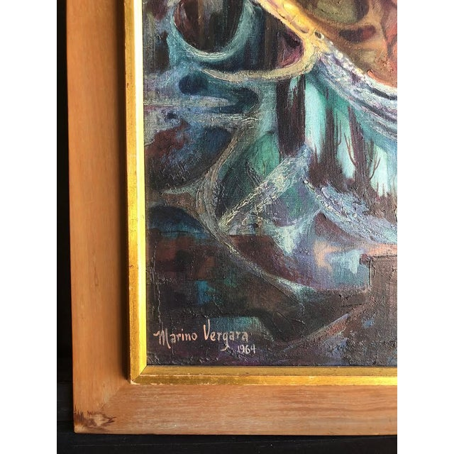 Stunning cubist painting in a lovely frame from the 1960s! The piece is signed Marino Vergara.