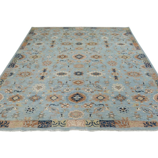 Kafkaz Peshawar Reid Blue & Tan Wool Rug - 9'0 X 12'3 For Sale - Image 4 of 7