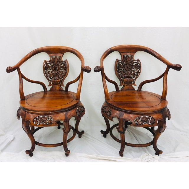 Stunning Pair Antique Carved Floral Shield Back Arm Chairs. Traditional Curved Back Shape and Size. Classic Motif...